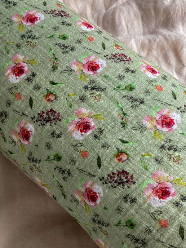 kussensloop groen rozen